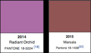 Pantone Colors 2014, 2015