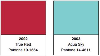 Pantone Colors 2002, 2003